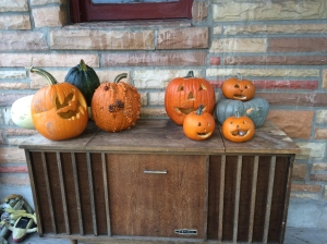 Our front porch. The pumpkin stand was donated by William Terry. We are all very grateful for his generosity.  Especially Candace.