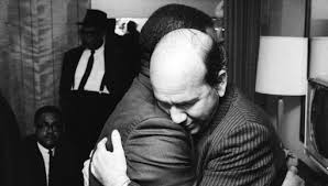 Will D. Campbell, right, and Ralph Abernathy comforted each other on April 4, 1968, at the Lorraine Hotel in Memphis after the assassination of Martin Luther King Jr.